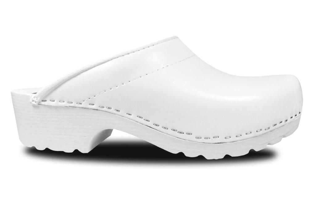 Clogs mit PU-Sohle in Weiß, offen
