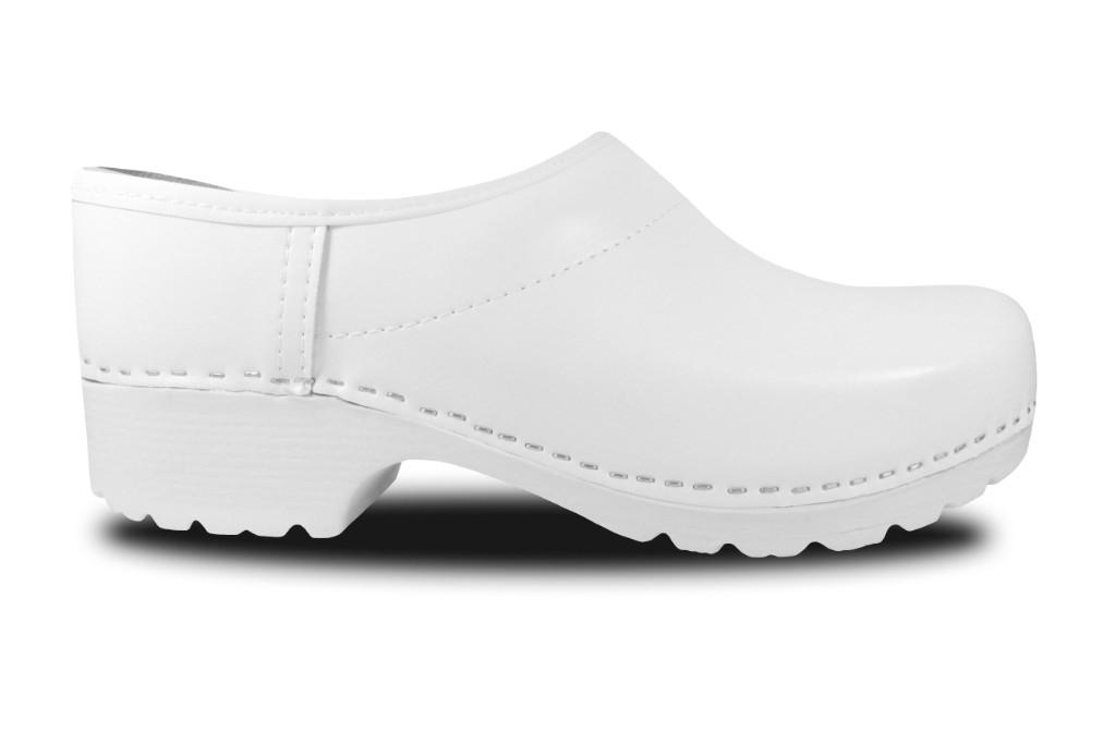 Clogs mit PU-Sohle in Weiß, geschlossen