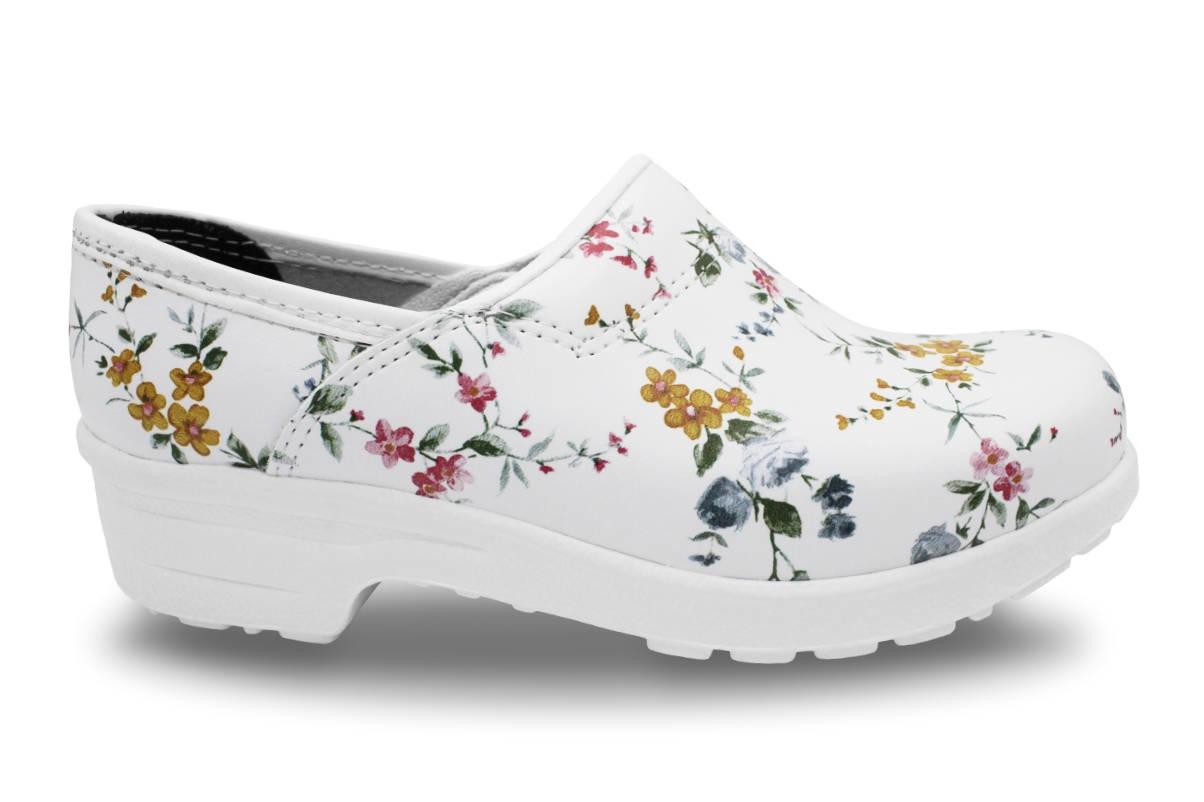 Clogs mit Flex-Sohle in Weiß, geschlossen (floral gemustert)