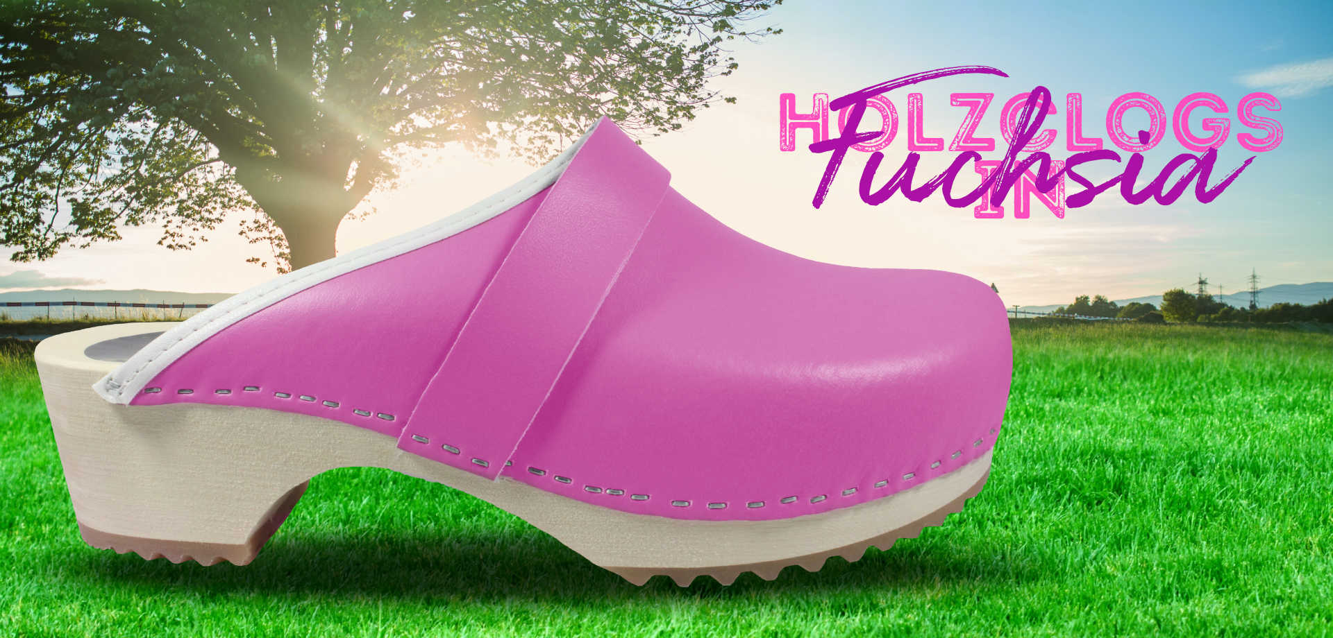 Holz Clogs in Fuchsia, offen