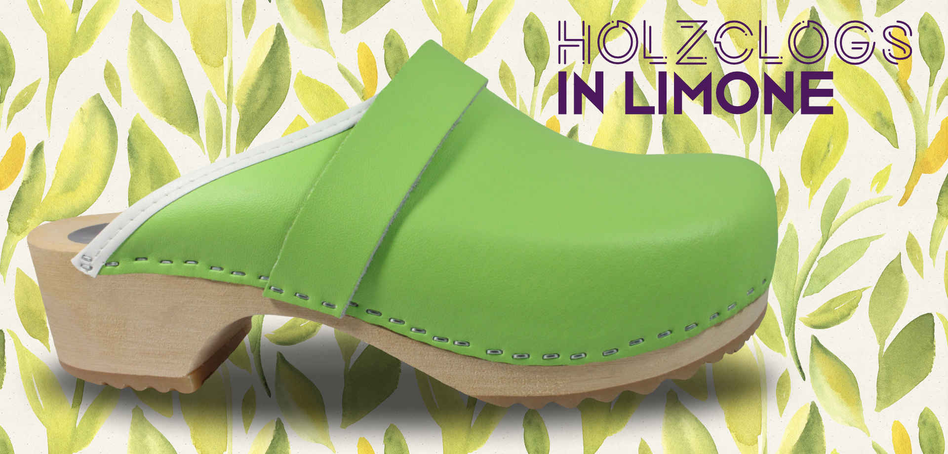 Holzclogs in Limone, offen