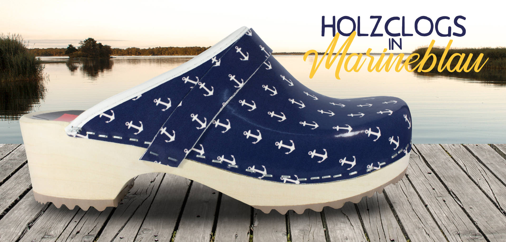 Holzclogs in Marineblau, offen