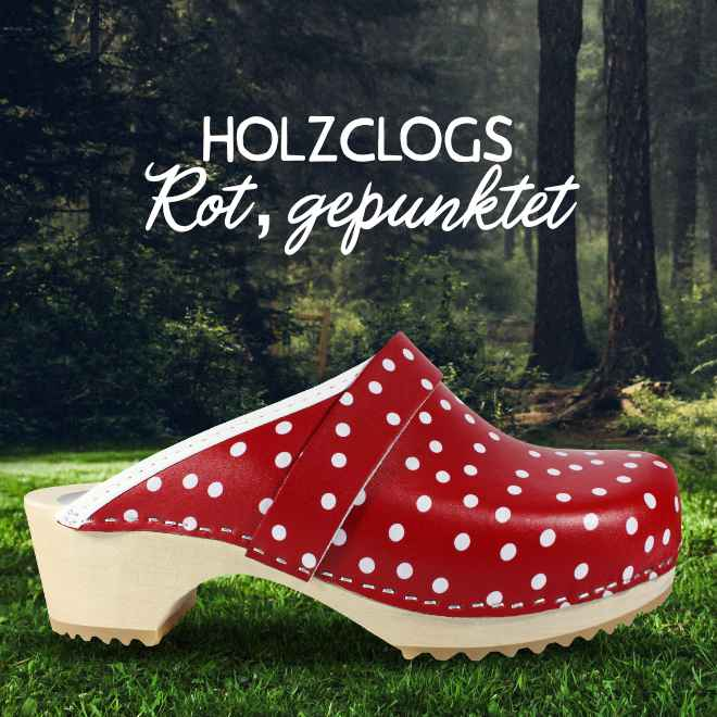Holz Clogs in Rot, offen (gepunktet)