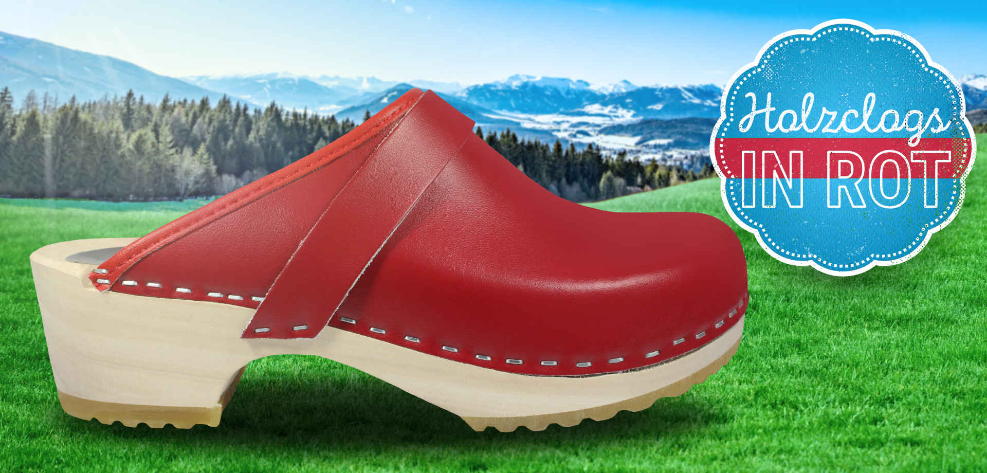 Holzclogs in Rot, offen