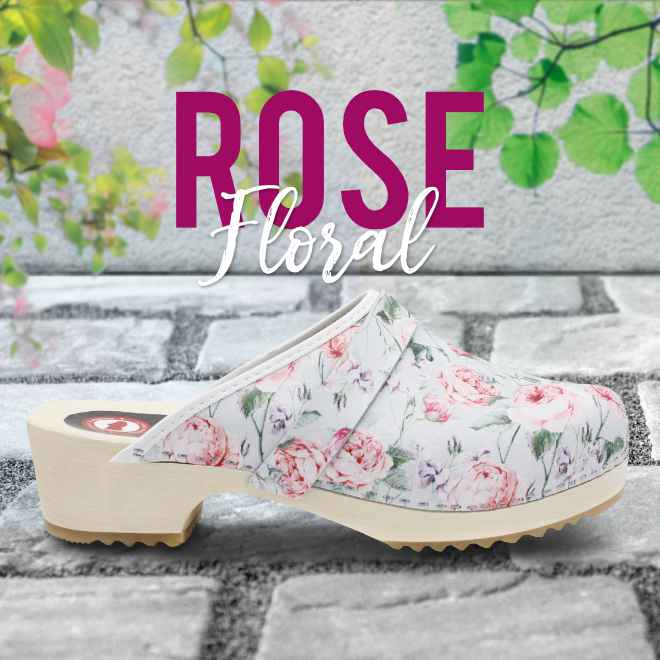 Holz Clogs in Rose, offen (floral gemustert)