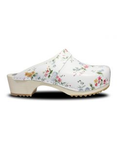 Holz Clogs in Weiß, offen (floral gemustert)