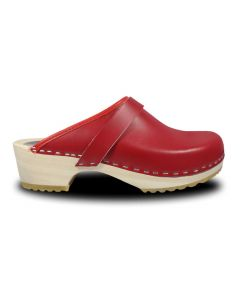 Holz Clogs in Rot, offen