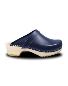 Holz Clogs in Blau, offen